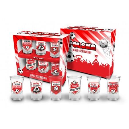"""Zestaw 6 kieliszków 35 ml """"Polska Biało - czerwoni"""""""