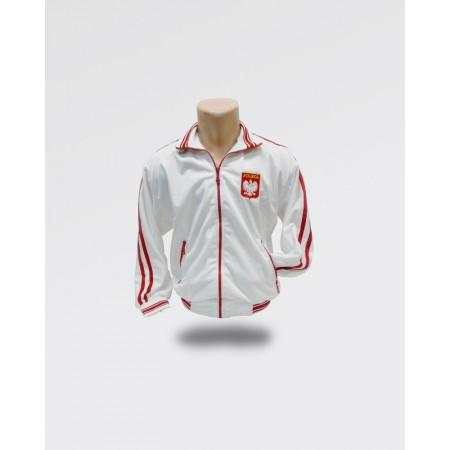 Bluza męska Polska dresowa biała z czerwonym paskiem