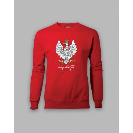 Czerwona bluza bez kaptura z orłem, stylizowanym na godło Polski 1918-2018