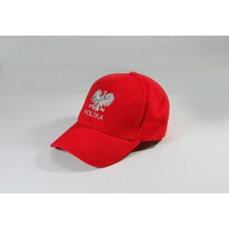 Czapka kibica bejsbolowa z orzełkiem Polska czerwona