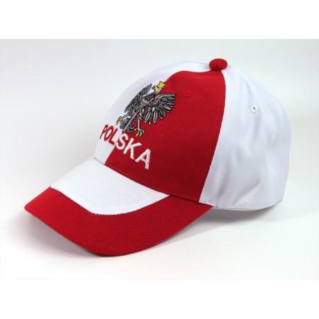 Czapka kibica bejsbolowa Biało-czerwona Polska orzełek
