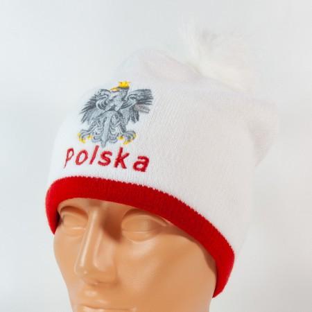Czapka kibica zimowa biała orzeł Polska gładka pompon