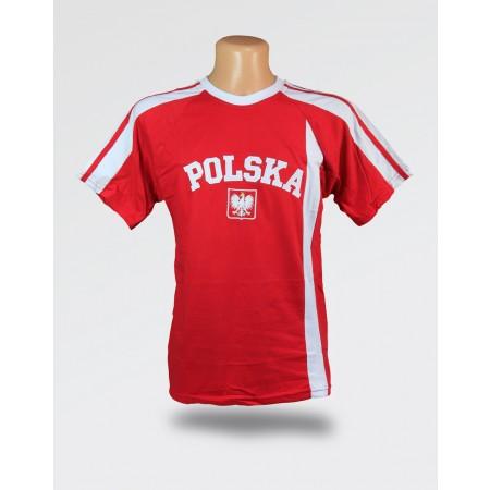 Koszulka dziecięca Polska czerwona z białym paskiem