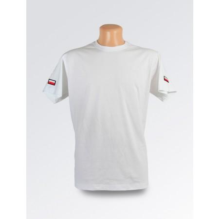 Biała koszulka z flagą Polski z obrysem na ramieniu