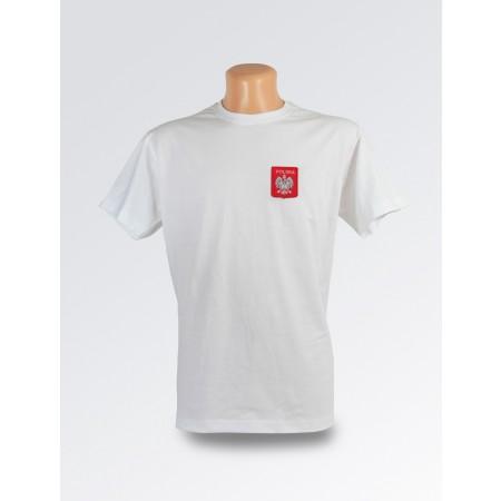Biała koszulka ze stylizowanym godłem Polski II