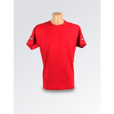 Czerwona koszulka z flagą Polski z obrysem na ramieniu