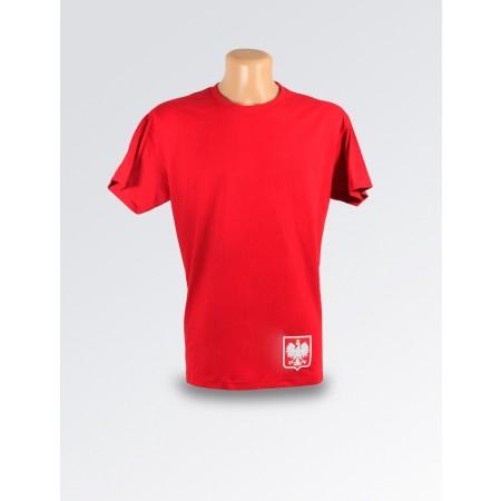 Czerwona minimalistyczna koszulka ze stylizowanym godłem Polski
