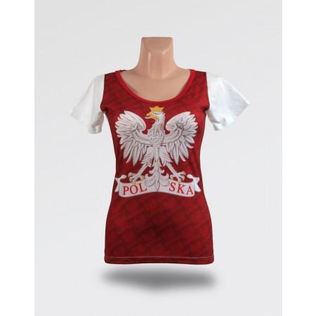 Biało-czerwona damska koszulka z orłem