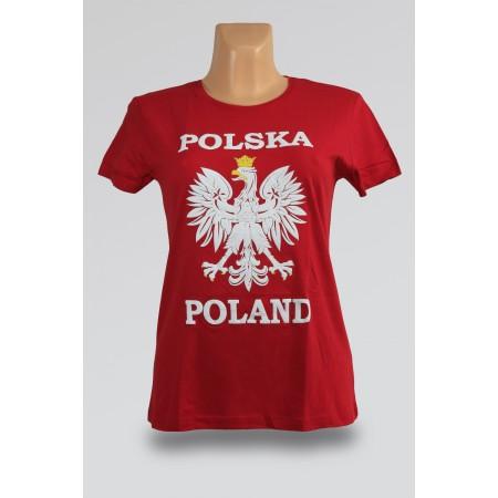 T-shirt damski Polska orzeł czerwona
