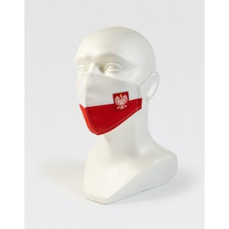 Maseczka na twarz biało-czerwona WDK GODŁO