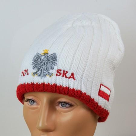 Czapka kibica zimowa biała orzeł Polska flaga prążki