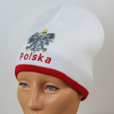Czapka kibica zimowa biała orzeł Polska gładka