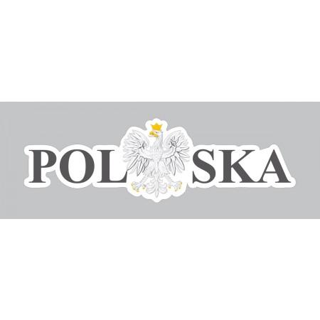 Naklejka Polska 120 x 38 mm nacinana - czarna zestaw 20 sztuk