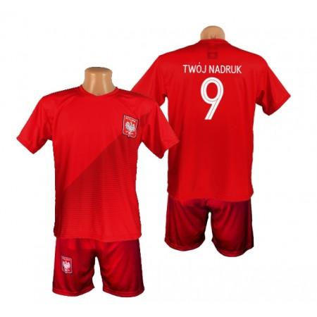 Czerwona Koszulka Polska z Twoim nadrukiem i spodenki