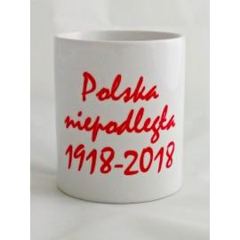Biały Kubek Polska Napis - Stulecie Odzyskania Niepodległości - wzór 2
