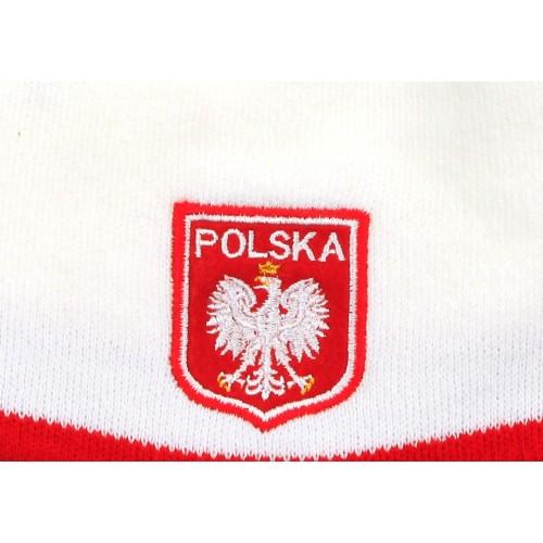 Czapka kibica zimowa biała Godło Polska gładka