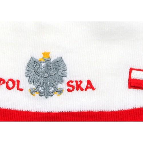 Czapka kibica zimowa biała orzeł Polska flaga gładka