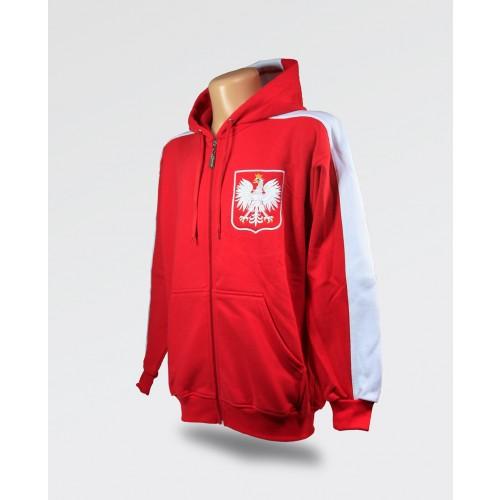 Bluza z kapturem czerwona duże godło