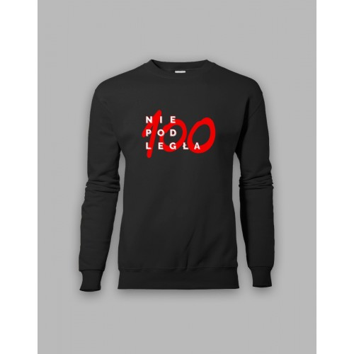 "Czarna bluza bez kaptura ""Niepodległa 100"""