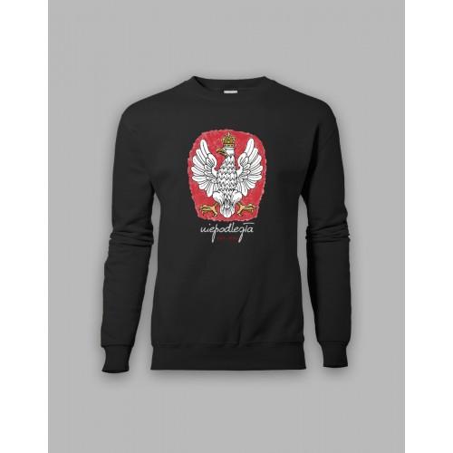 Czarna bluza bez kaptura z orłem, stylizowanym na godło Polski 1918-2018