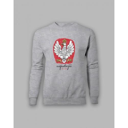 Szara bluza bez kaptura z orłem, stylizowanym na godło Polski 1918-2018