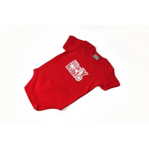 Body z krótkim rękawkiem mały kibic czerwony