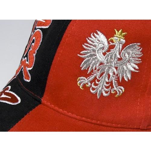 Czapka kibica bejsbolowa czerwono-czarna z orłem i haftem Polska