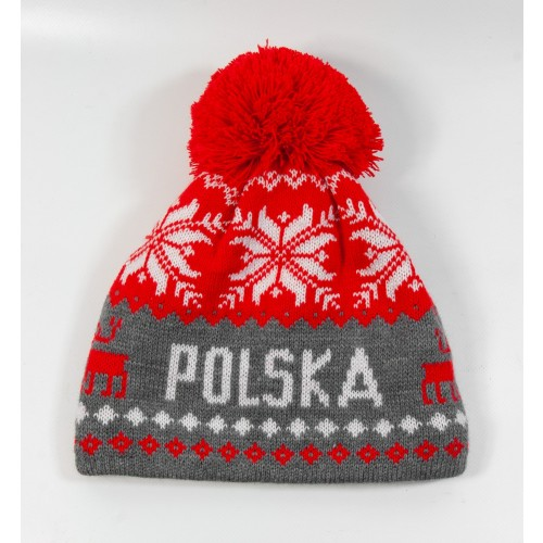 Czapka kibica zimowa Renifer Polska Szara