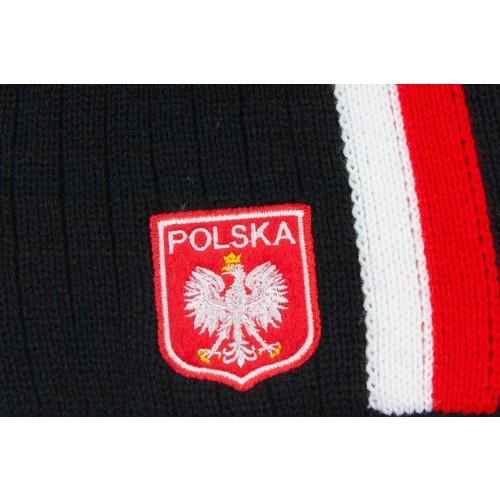 Czapka kibica zimowa czarna z biało-czerwonym pionowym paskiem i stylizowanym godłem