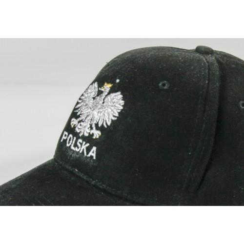 Czapka kibica bejsbolowa z orzełkiem Polska czarna