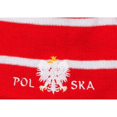 Czapka kibica zimowa czerwona pasy orzeł flaga