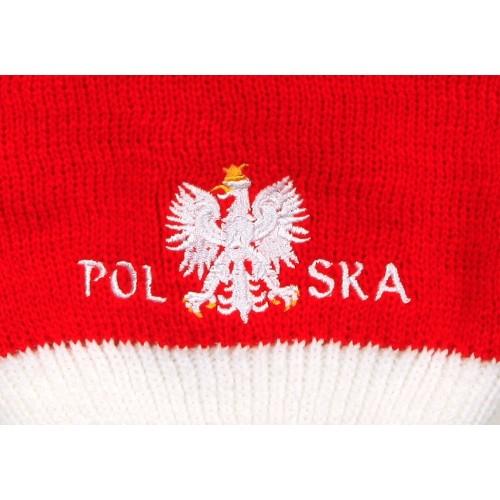 Czapka zimowa czerwona z białą lamówką i białym pomponem - flaga