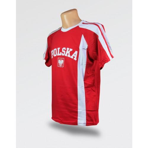 Koszulka męska Polska czerwona z białym paskiem