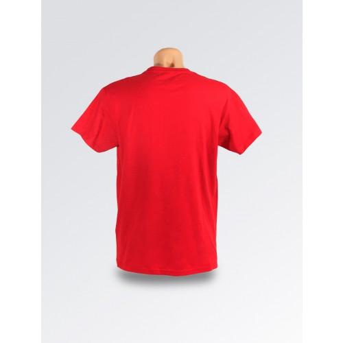 Czerwona koszulka z flagą Polski na ramieniu