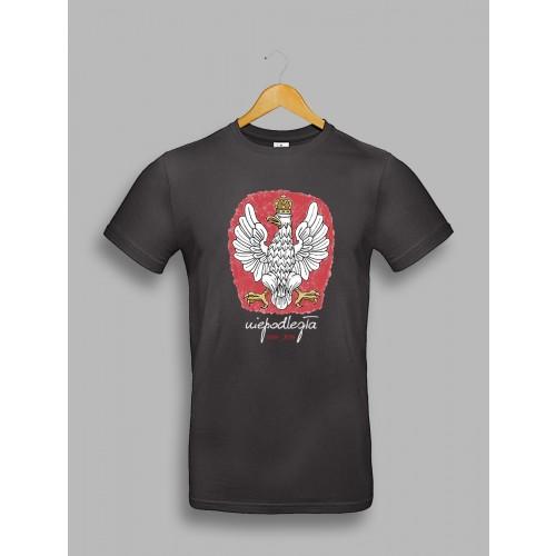 Męska czarna koszulka z orłem, stylizowanym na godło Polski 1918-2018
