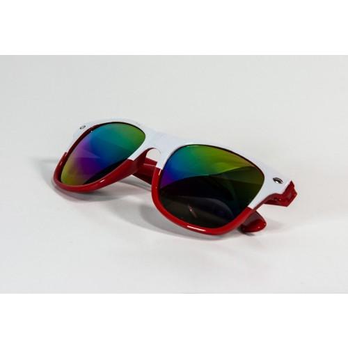 Okulary kibica biało-czerwone lustrzane