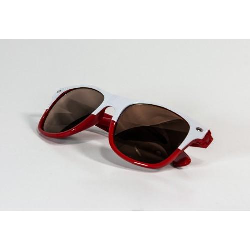 Okulary kibica biało-czerwone przyciemniane