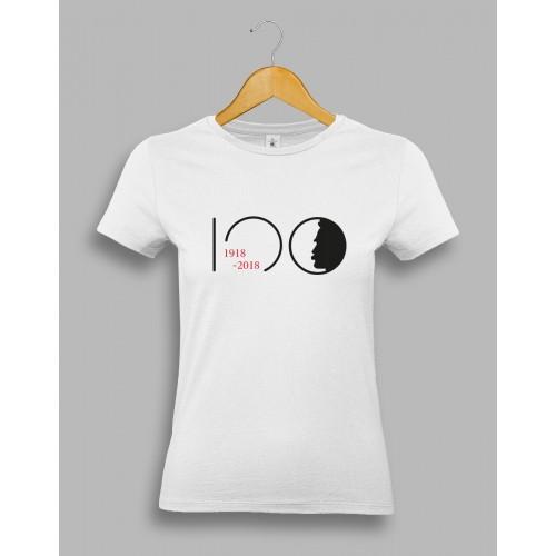 "Damska biała koszulka - ""Piłsudski 100"""