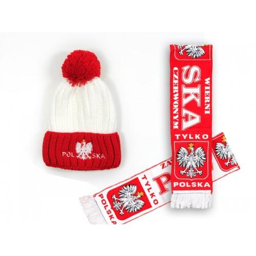 Zestaw zimowy szalik HD i czapka pompon czerwony