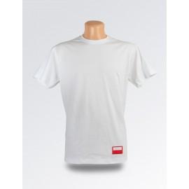 Biała minimalistyczna koszulka z flagą Polski