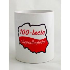Biały Kubek Polska Napis - Stulecie Odzyskania Niepodległości - wzór 1