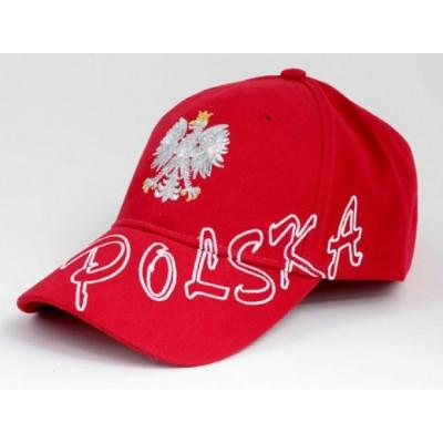 Dziecięca czapka kibica bejsbolowa z haftem Polska czerwona