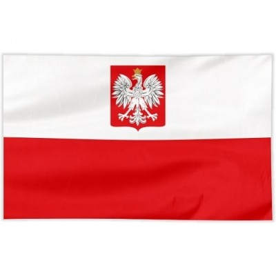 Flaga Polska szyta orzeł 100/60 cm