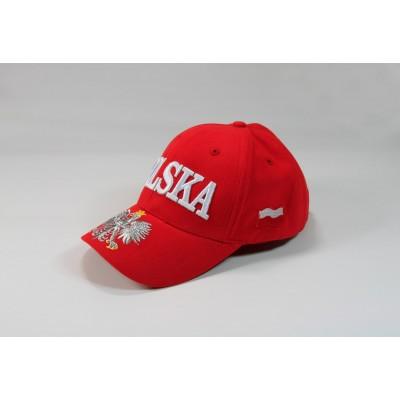 Dziecięca czapka kibica bejsbolowa Polska orzeł flaga czerwona
