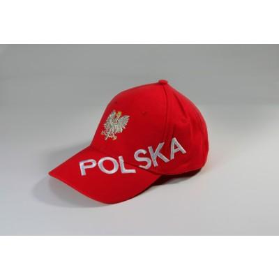 Czapka kibica bejsbolowa z pełnym haftem Polska czerwona