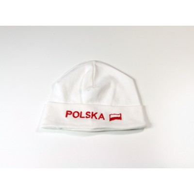 Czapka dziecięca biała Polska