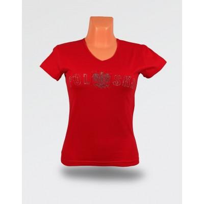 Koszulka damska czerwona brokat orzeł