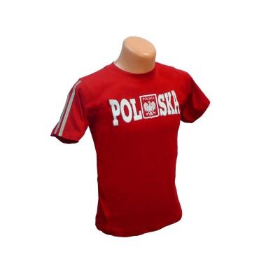 Koszulka dziecięca Polska - czerwona z odblaskiem