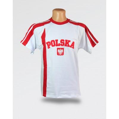 Koszulka męska Polska biała z czerwonym paskiem