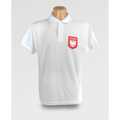 Koszulka Polo biała męska z orzełkiem i haftem Polska